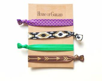 Bold Print set of 4 FOE hair ties - No Crease hair ties - Girls hair ties - FOE hair ties - Hair accessories - Ponytail - Hair Elastics