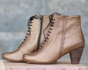 Bronze Leather Ankle Boots, Leather Booties, Heeled Boots, Gold Boots, Riding Boots , Free Shipping