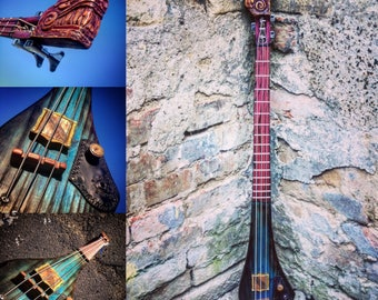 Electric Bass Guitar. Luthier Three-string Bass by DaShtick Guitars.
