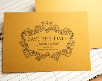 Pearlescent Save the date wedding invitations. Shiny Invite postcards. Single sided with optional envelopes. Elegant wedding stationary. UK