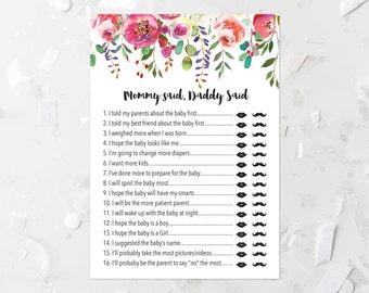Pink Floral Mommy Said Daddy Said Game Printable She Said He Said Shower  Game Bohemian Baby