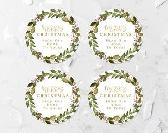 Green Foliage Christmas Tags Printable Greenery Merry Christmas Labels Christmas Gift Tags Christmas Favor Labels Christmas Stickers 316