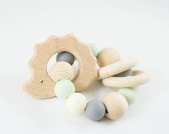 Wooden Toy - Wooden Teether - Organic Baby Toy - Teether - Rattle - Natural Baby Toy - Wooden Rattle - Hedgehog Teether - Teething Toy