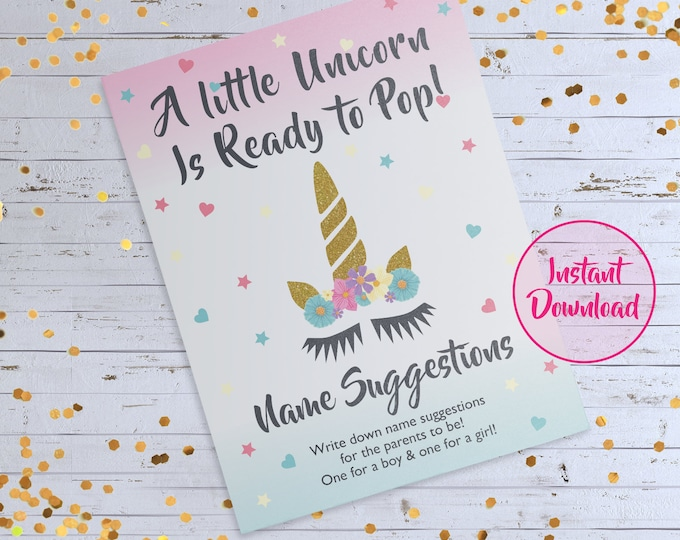 Unicorn Theme Baby Shower, Unicorn Theme Name Game, Name Suggestion Card Game, Name Game, Gender Reveal Party Game, Baby Name Game