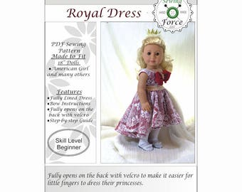 18 inch doll clothes pattern, American girl doll clothes pattern, PDF Sewing Pattern, Royal Dress - instant download