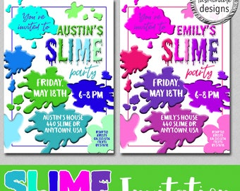 Customized Slime Party Invitation, Slime Birthday, Choose Pink/Purple or Blue/Green, JPG File