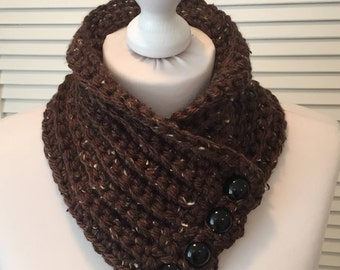 Brown crochet cowl scarf with button fastening