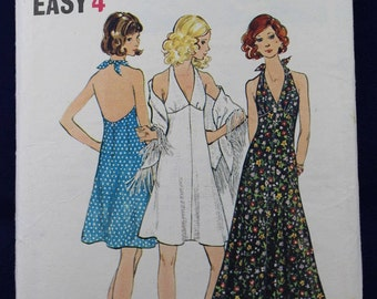 1970's Sewing Pattern for a Woman's Halter Dress & Shawl in Size 16 - Butterick 6634