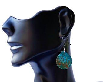 Copper Patina Earrings - Teardrop Earrings - Blue patina - boho earrings - lightweight earrings - dangle earrings - copper jewelry