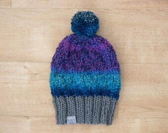 Slouchy Twisted Ribbing Variegated Color Knit Hat/Purple/Teal/Blue/Gray/Pom Pom