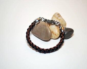 Men's bracelet, leather and silk braided men's bracelet, kumihimo bracelet