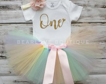 1st Birthday Rainbow Tutu | First Birthday Outfit | Rainbow Shirt | Unicorn Birthday | Cake Smash Outfit | Photo Prop | Baby Girl | Bodysuit
