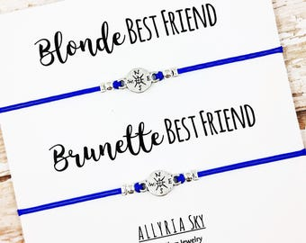 Set of Two Best Friend Bracelets   Blonde and Brunette Best Friends   BFF, Best Friend Gift Jewelry   Matching Friendship Bracelets