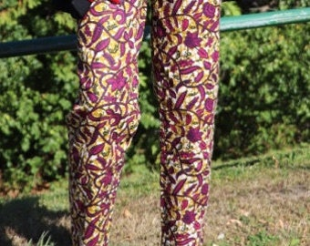 Cigarette pants in Fuchsia floral wax