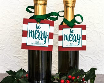 Christmas Gift Tags & Ribbon - Holiday Party Favor - Christmas Wine Bottle Tags - Candy Tags - Hostess Gift Tags - Holiday Gift Tags Custom