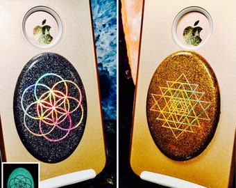 Cellgone Orgonite®~ Orgone for Cell Phone ~ Shungite EMF Radiation Protection ~ Seed / Flower of Life, Sri Yantra, Metatron, Sacred Geometry