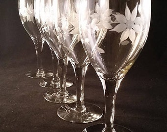 Etched Flower Wine Glasses  S/5