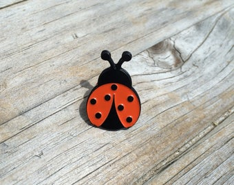 Lucky Lady Bug Enamel Pin, Soft Enamel Pin, Brooch, Black Pin, Lapel Pin, Limited Edition, Enamel Pin, Lady Bug Pin, Gifts for Her, Lucky