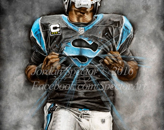 Featured listing image: Carolina Panthers - Cam Newton - Art Print - Superman - Wall Art - Man Cave Art - Panthers Decor - Dorm Decor - Panthers Gifts - Super Cam