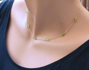 Peridot Necklace, Green Peridot Choker Necklace, August Birthstone Jewelry, Dainty Gold Choker, Sterling Silver Choker, Tiny Stone Necklace