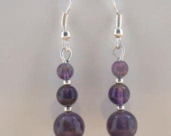Amethyst Gemstone Earrings with Sterling Silver Hooks New Drops LB16