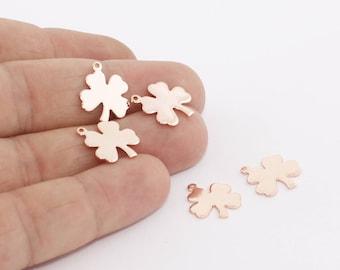 5 Pcs 13x16mm Rose Gold Clover Charms, Clover Pendant, Clover Necklace, Mini Clover Pendant, ROSE32
