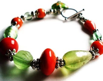 Orange Bracelet Glass Jewelry Green Bracelet Bohemian Jewelry Charm Bracelet Everyday Jewelry Silver Bracelet Green Jewelry Boho Bracelet