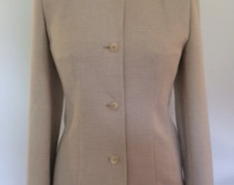 Vintage collarless fitted jacket cream with a hint of pale green by Berketex size small