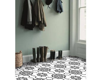 Milano Vinyl Tile Sticker Pack in Black & White - Tile Decals - Floor Stickers