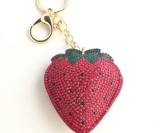 Strawberry Keychain,Rhinestone Strawberry Keychain,Rhinestone Keychain,Red Strawberry Keychain, Sparkle Keychain,Strawberry Keyring
