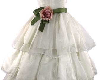 Vintage 1980s does 1950s Ivory Organza Tiered Party Dress - 50s Wedding Dress