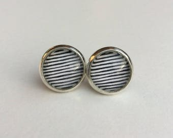 Black & White Strip 10mm Round Glass Dome Stud Earrings