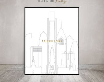 Philadelphia Print Poster Philadelphia skyline, minimalist  poster, wall art, travel gift, faux gold text, Light grey stroke,ArtPrintsVicky