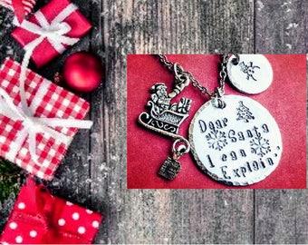 Dear Santa, Holiday necklace, Santa necklace, Snowman necklace, Christmas jewelry, Holiday jewelry, Santa jewelry, Free shipping