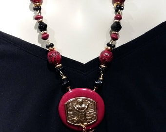 Big and bold necklace Red  and Black Oriental Inspiration statement choker with glass and ceramic beads