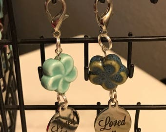 Loved Dog Collar Charm w Ceramic Flower Bead Accent
