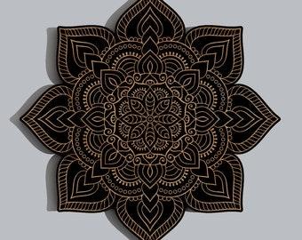 Floral Mandala Geometric Laser Engraved Wood Wall Art