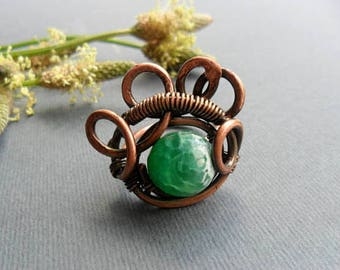Copper wire wrapped ring Wire wrapped jewelry Antique copper Statement ring Hammered copper Adjustable ring Wire wrap ring womens Green ring
