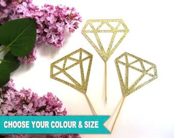 Diamond Cupcake Toppers, Donut Ring, Diamond Ring, Bridal Shower, Engagement, Glitter, Picks | 12pcs | Gold,Silver,Pink,Blue,Black,Red,Green