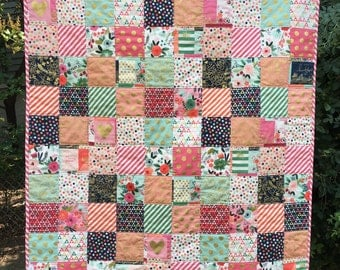 PumpernickelPlum Baby Quilt, Crib Quilt, Girl, On Trend fabric by Riley Blake, Gold, Floral