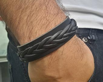Men Leather Bracelet, Men Bracelet, Leather Bracelet, Black Leather Bracelet, Leather Bracelet for Men, Black Leather Bracelet, Men Gift