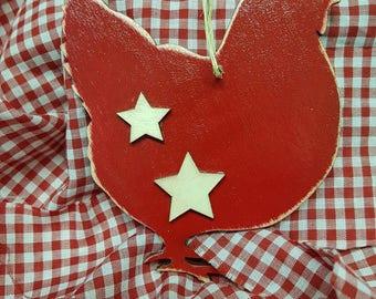 Wooden chicken ornament