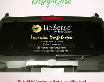 LipSense Car Decal, Printable Digital File, Advertising Window Decal, Personalized, 12x18, LipSense SeneGence, Distributor, LIPCD001