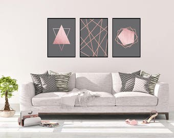 Rose Gold Wall Art Set, Living Room Wall Art Set, Rose Gold Bedroom Decor Part 81