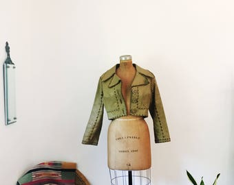 Manny's 1970's Handmade Cropped Genuine Vintage Leather Jacket Whipstitching Tan Details Womens Retro