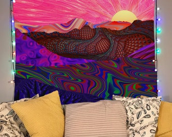 Trippy Trek Tapestry   Colorful Landscape Art   Psychedelic Wall Art   Trail into Horizon Wall Art   Colorful Design   Lucid Eye Tapestries