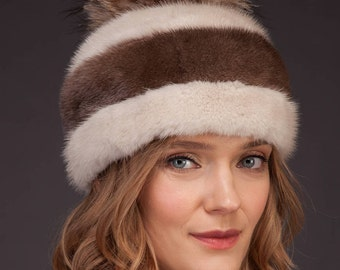 Natural Two-Shaded Brown Real Mink Fur Hat With Leather Inserts And Big Fox Fur Pom-Pom
