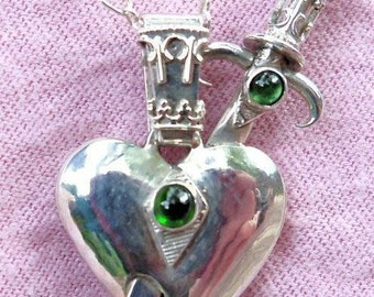 Sterling silver heart and dagger with tourmaline