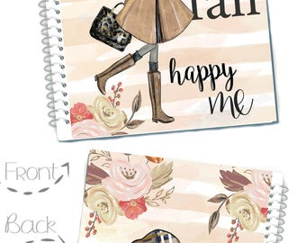 Happy Fall Planner Cover, African American Dark Skin Girl, Glam Girl For Use with Erin Condren Life Planner(TM), Recollections Planner Cover