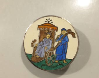 Champleve enamel button (1900's) in Silver.